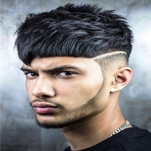 High Taper Fade with Angular Fringe