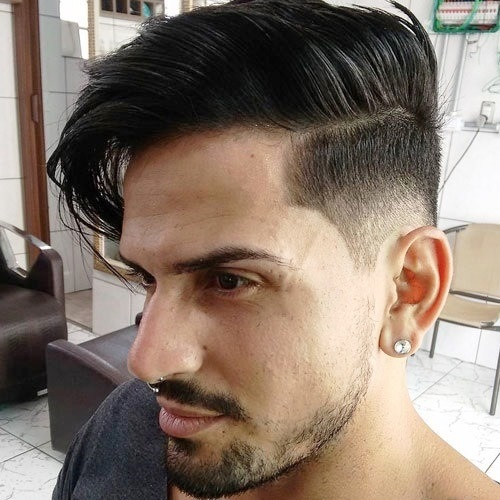 Long Comb over with Side part and Low Fade