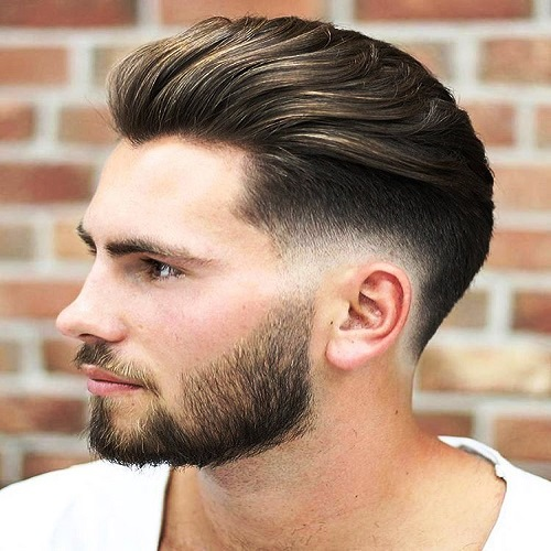 Brushed Back with SubtleFade Haircuts for Men