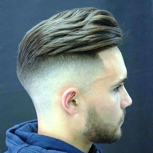 Clean Combed PompadourFade Haircuts for Men