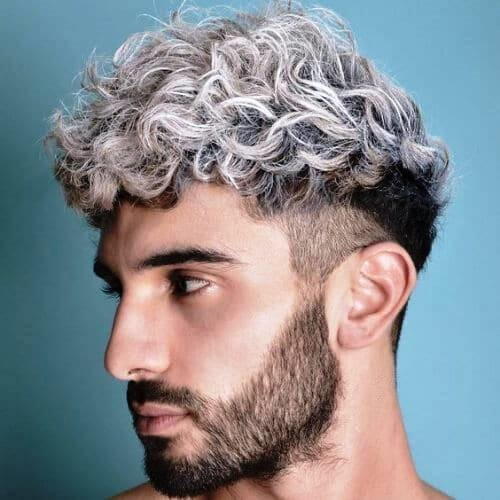 Curly Dyed HighlightsFade Haircuts for Men