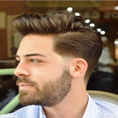 Neat Quiff with Taper Faded Sides